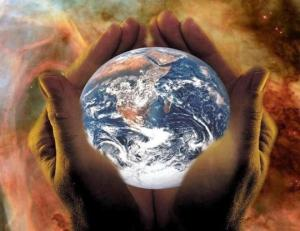 world in his hands